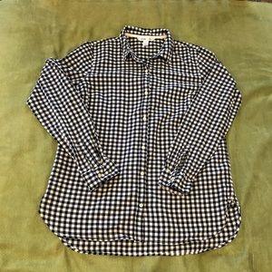 Navy blue gingham button up shirt